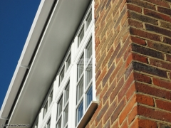 white soffit square guttering installation by the fascia division ltd
