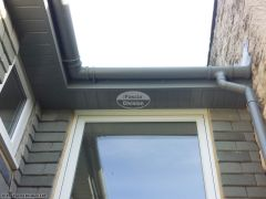 UPVC grey guttering with grey soffit and fascia installation