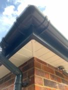 Close up of grey guttering